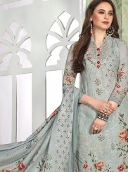 Muslin Grey Digital Print Pant Style Suit