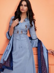 Muslin Grey Embroidered Palazzo Designer Salwar Suit