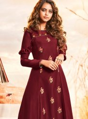 Muslin Maroon Embroidered Party Wear Kurti