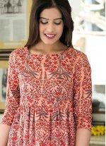 Muslin Peach Digital Print Readymade Trendy Gown