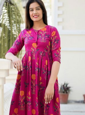 Muslin Pink Party Wear Kurti