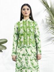 Muslin Print Green Party Wear Kurti