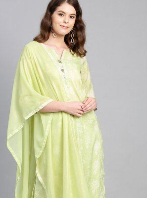 Muslin Print Green Readymade Suit