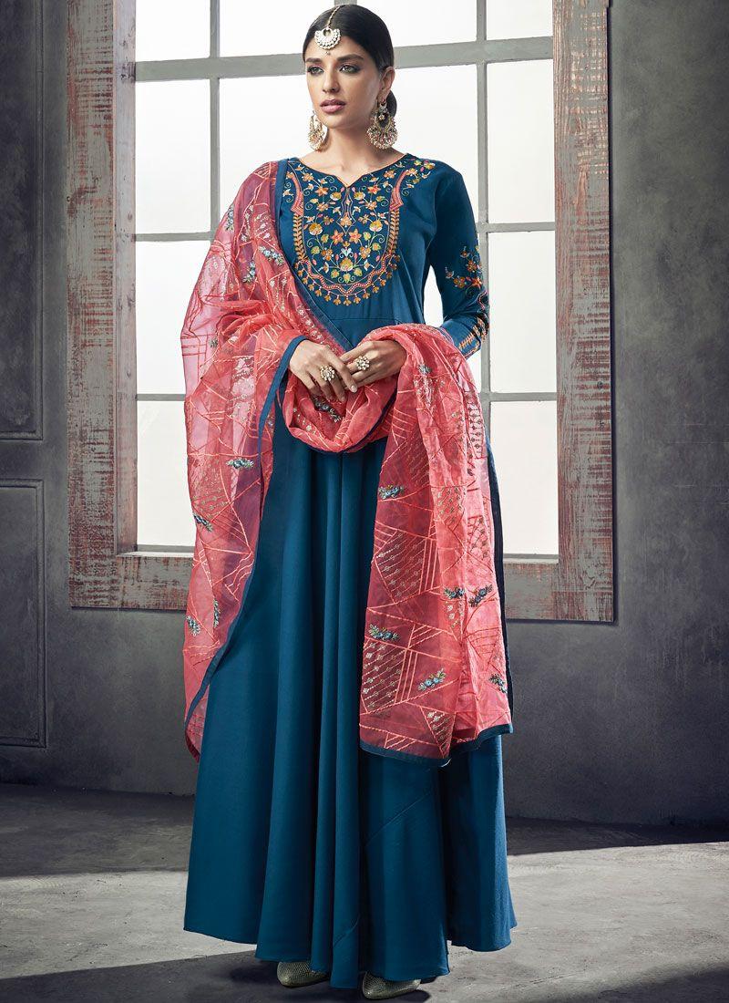 Muslin Readymade Anarkali Suit in Blue