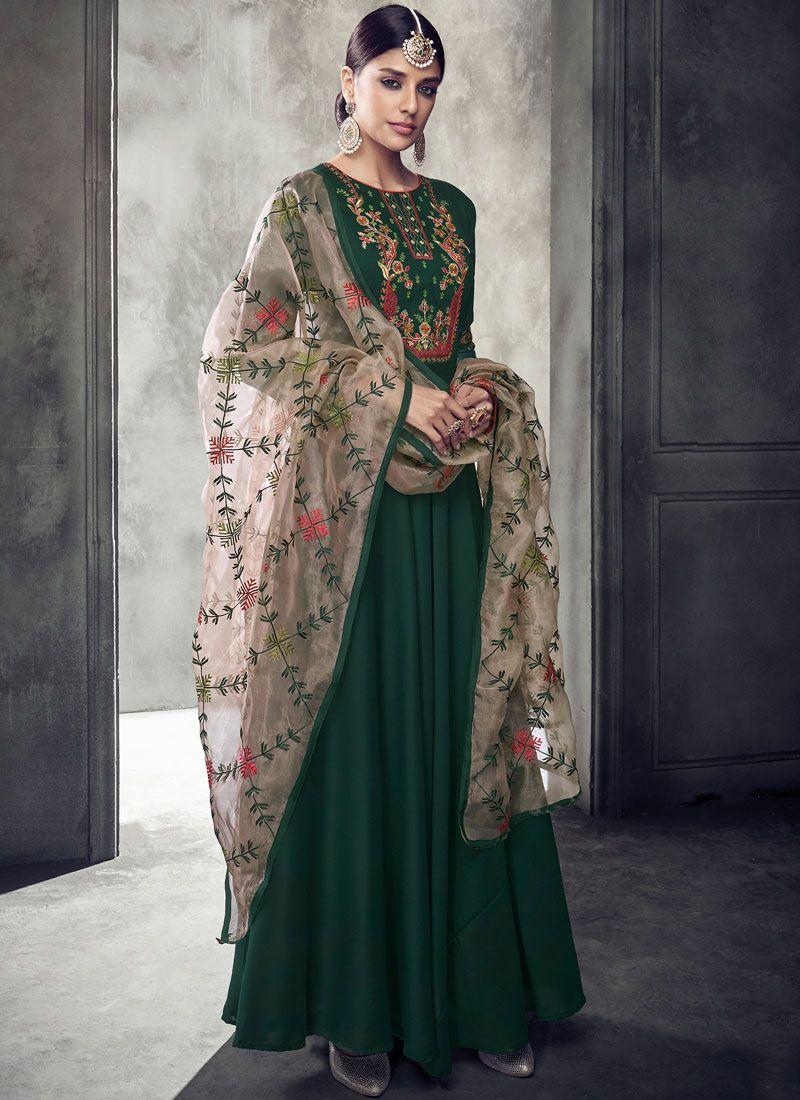 Muslin Readymade Anarkali Suit in Green