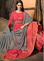 Muslin Rose Pink Embroidered Designer Salwar Kameez