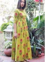 Muslin Yellow Designer Gown