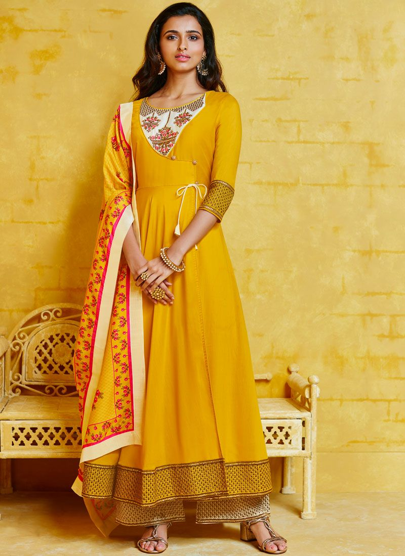 Muslin Yellow Embroidered Readymade Suit