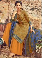 Mustard Abstract Print Festival Designer Palazzo Suit