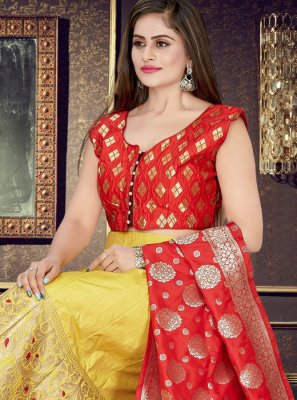 Mustard and Red Art Silk Readymade Lehenga Choli