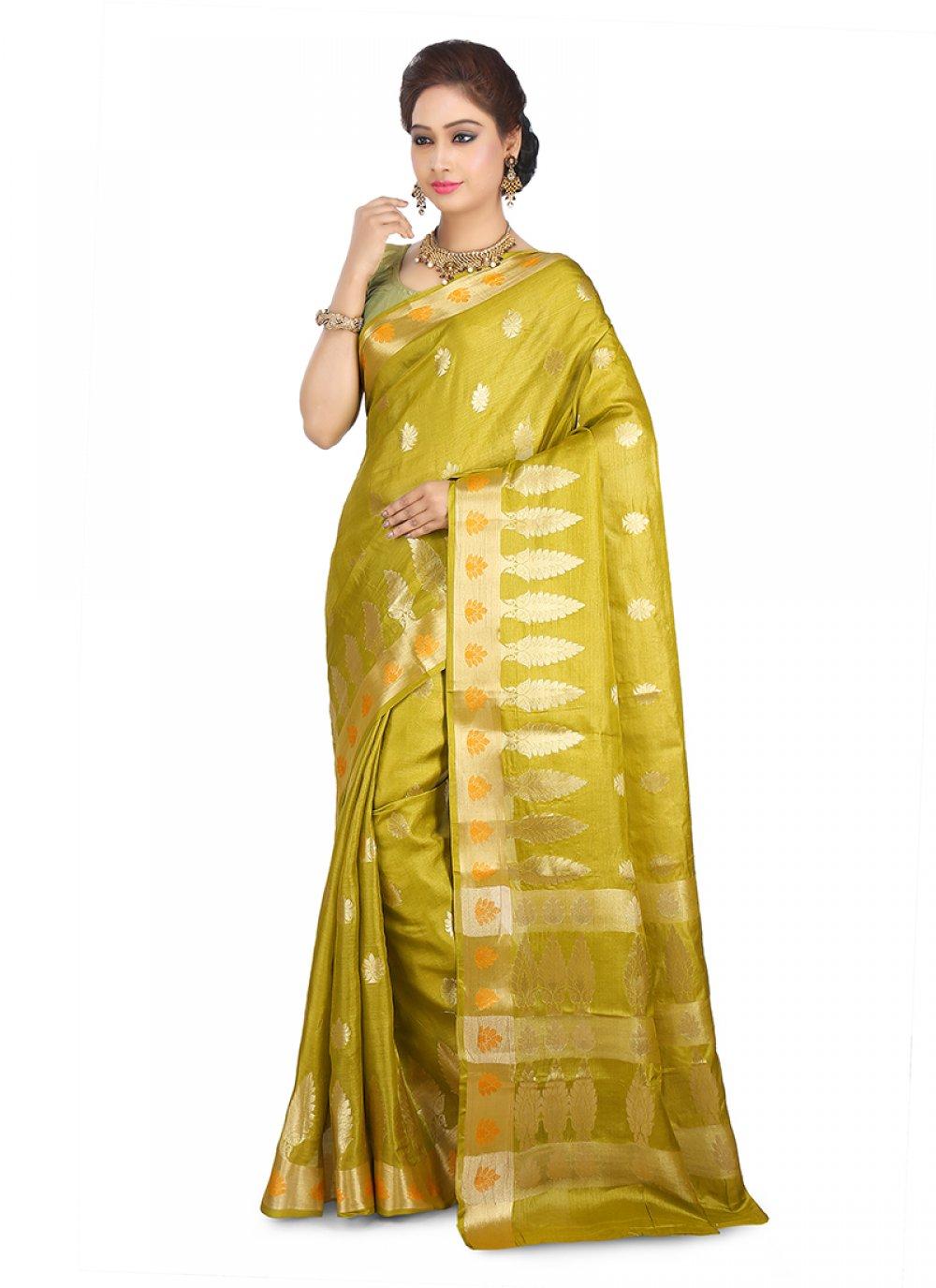 Mustard Art Banarasi Silk Reception Designer Traditional Saree