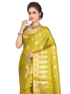 Mustard Art Banarasi Silk Reception Designer Traditional Saree