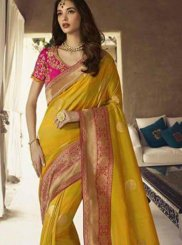 Mustard Art Silk Ceremonial Designer Traditional Saree
