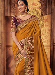 Mustard Art Silk Embroidered Designer Traditional Saree