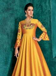 Mustard Art Silk Embroidered Readymade Gown