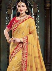 Mustard Art Silk Embroidered Traditional Designer Saree