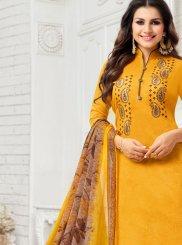Mustard Art Silk Salwar Kameez