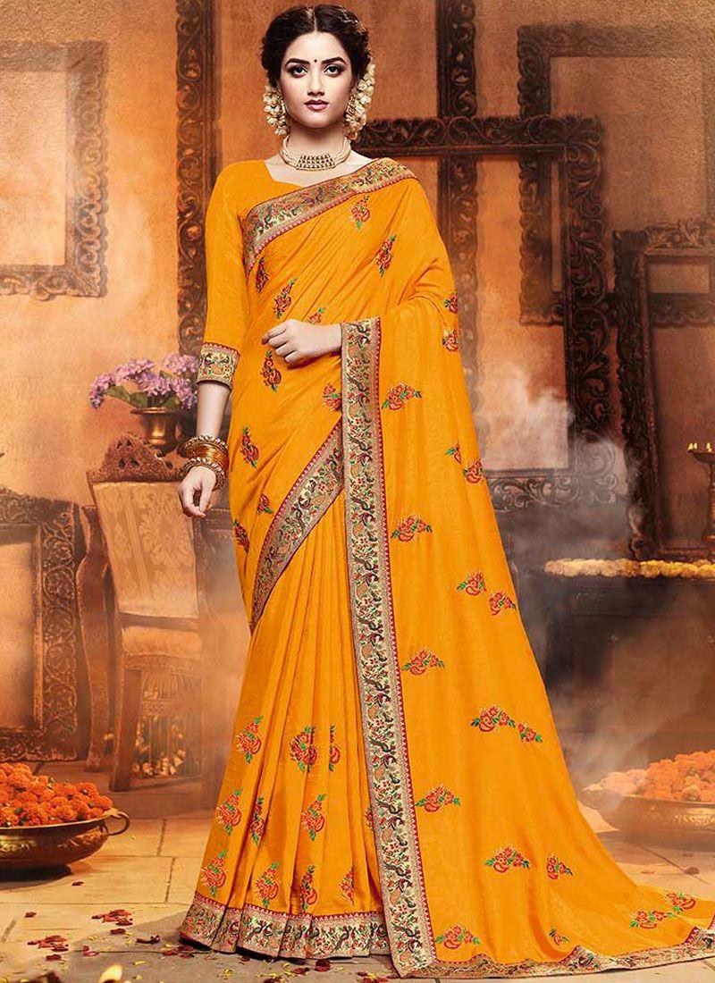 Mustard Art Silk Traditional Saree