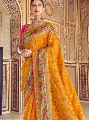 Mustard Art Silk Wedding Designer Traditional Saree