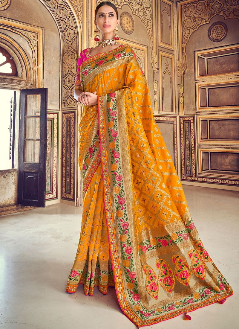 Mustard Art Silk Wedding Designer Traditional Saree