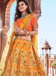 Mustard Banarasi Silk Trendy A Line Lehenga Choli
