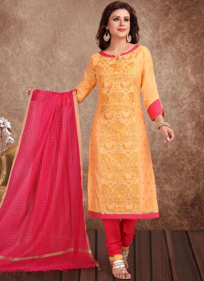 Mustard Ceremonial Churidar Designer Suit