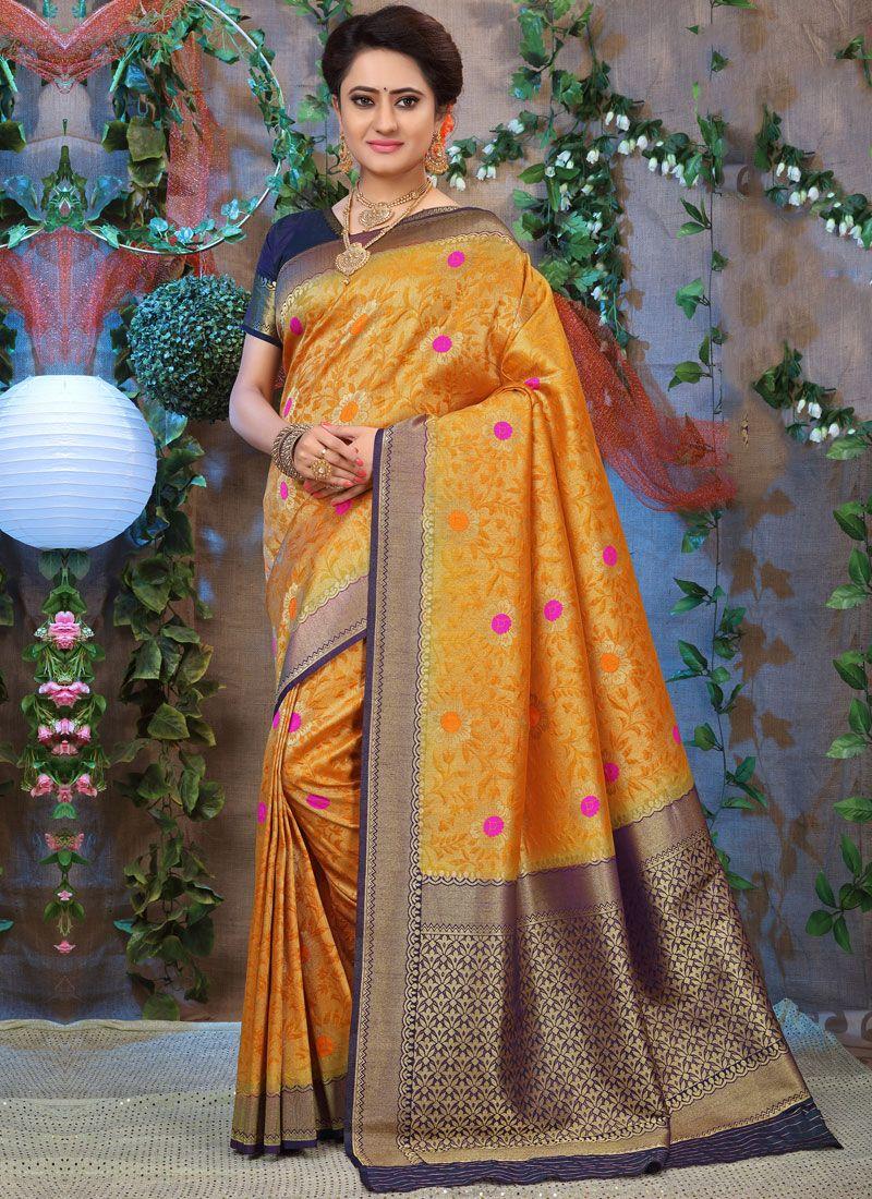 Mustard Ceremonial Fancy Fabric Traditional Designer Saree