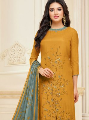 Mustard Color Churidar Suit