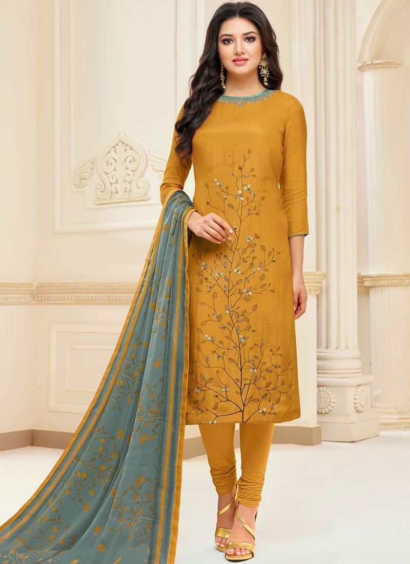 Shop Mustard Color Churidar Suit Online : 112821 - New ...