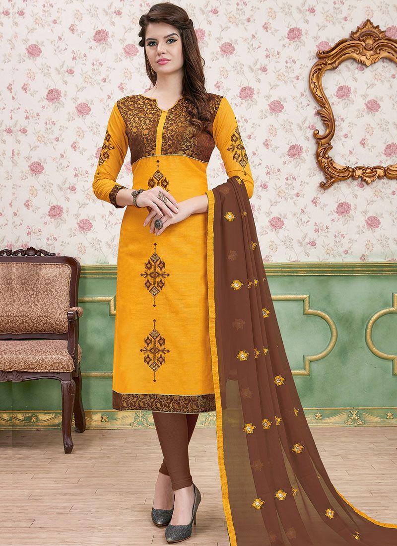 Mustard Cotton   Churidar Designer Suit
