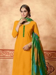 Mustard Cotton Embroidered Designer Straight Suit