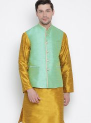 Mustard Cotton Kurta Payjama With Jacket