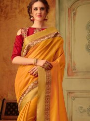 Mustard Cotton Silk Festival Trendy Saree