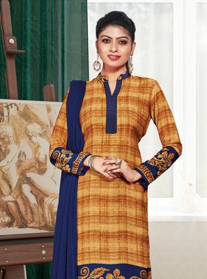 Mustard Crepe Silk Print Churidar Suit