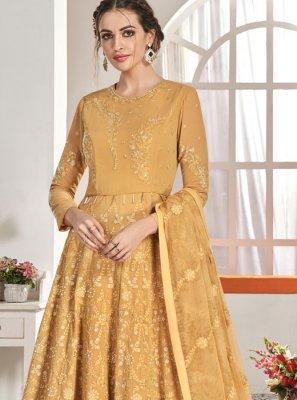 Mustard Embroidered Anarkali Salwar Suit