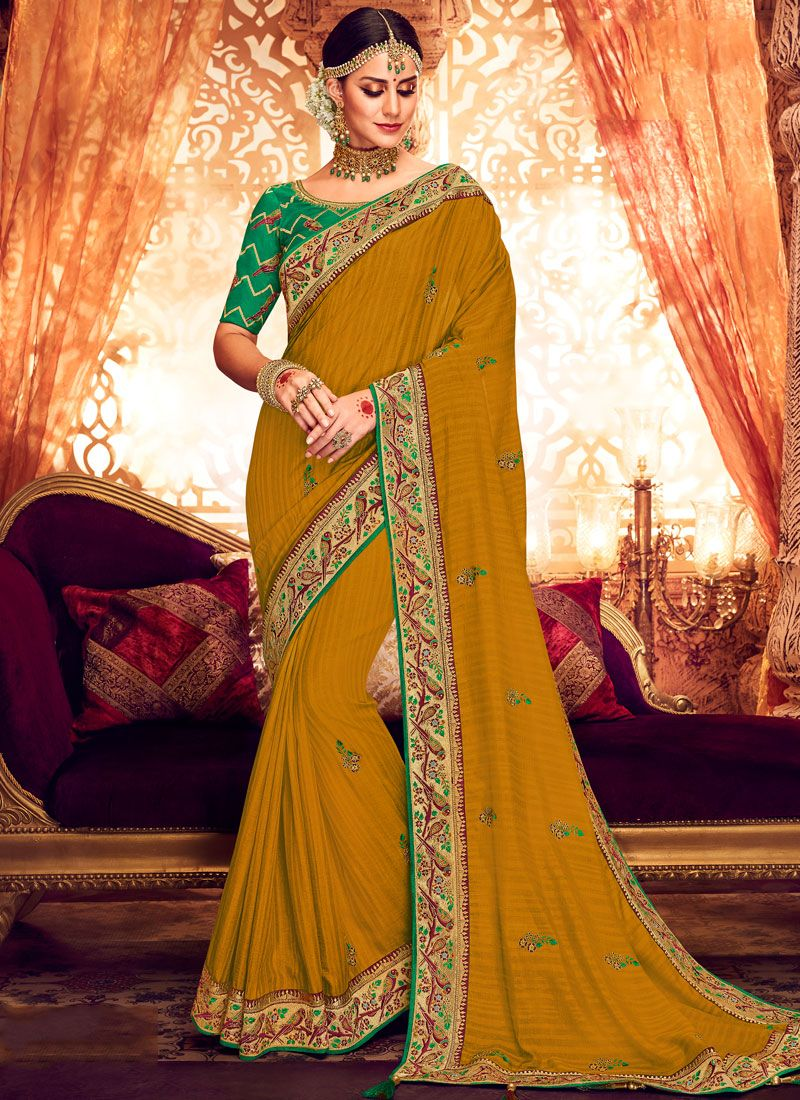 Mustard Embroidered Art Silk Designer Saree