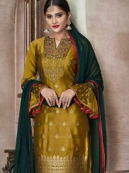 Mustard Embroidered Banglori Silk Churidar Salwar Kameez