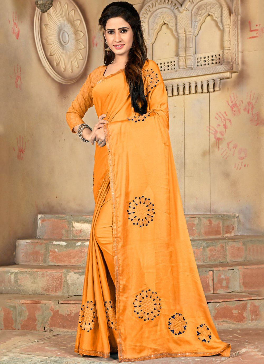 Mustard Embroidered Casual Traditional Saree