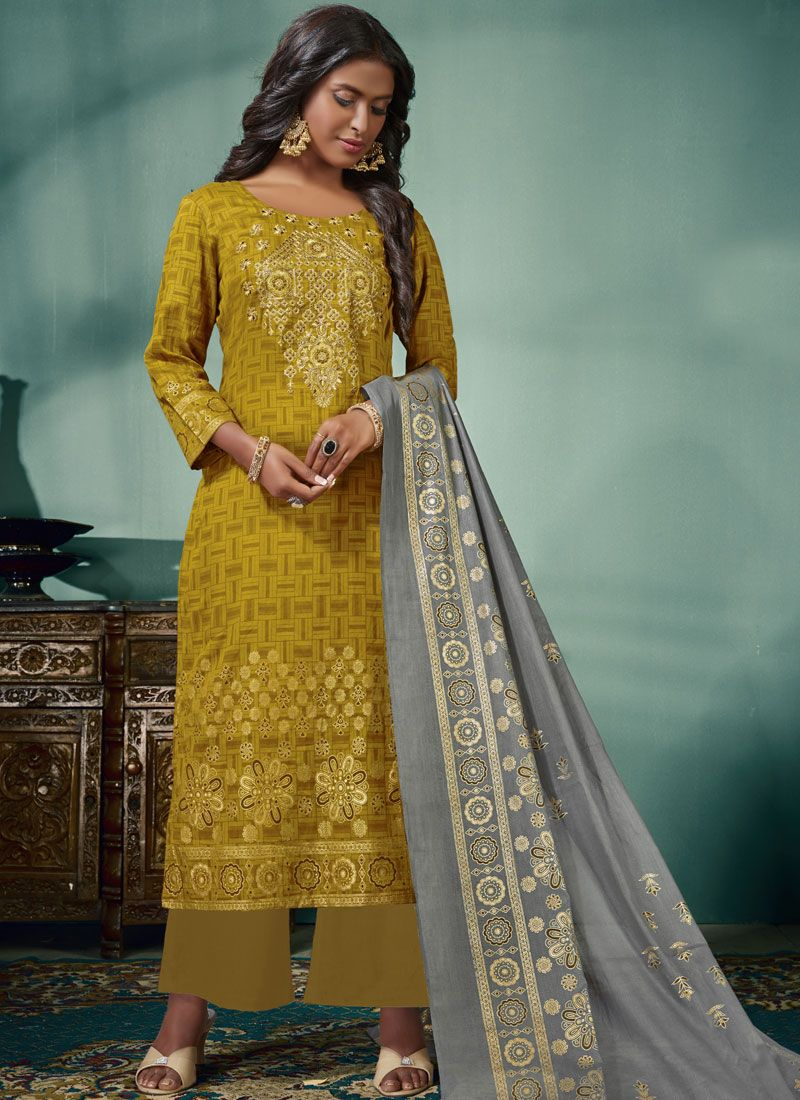 Mustard Embroidered Cotton Palazzo Designer Salwar Suit