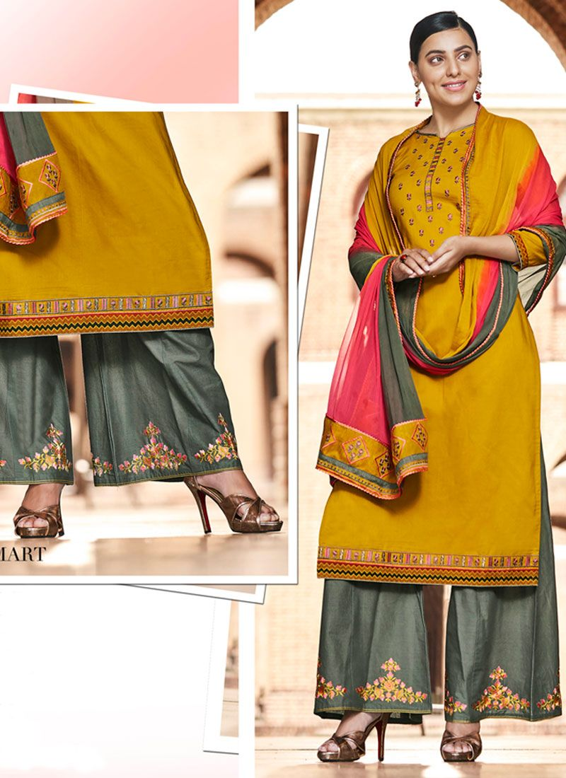 Mustard Embroidered Designer Palazzo Suit