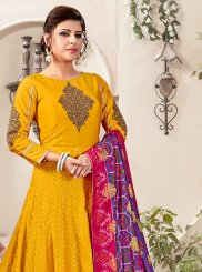 Mustard Embroidered Designer Salwar Suit