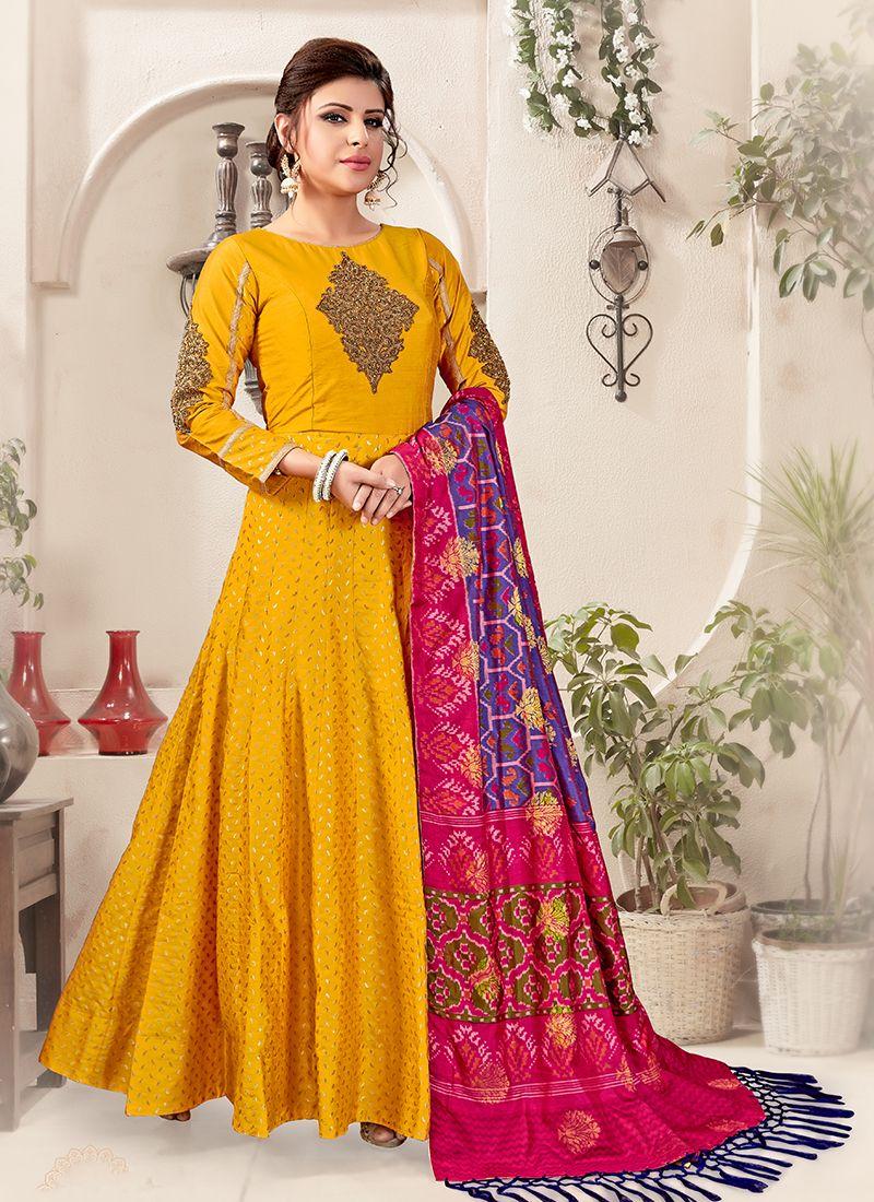 Mustard Embroidered Designer Salwar Suit