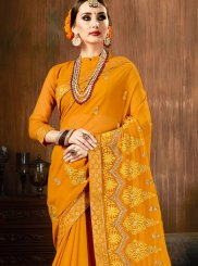Mustard Embroidered Faux Georgette Traditional Saree