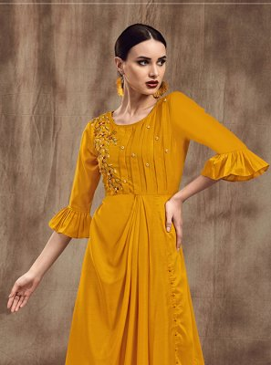 Mustard Embroidered Party Wear Kurti