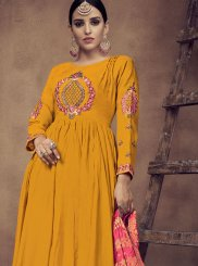 Mustard Embroidered Rayon Readymade Anarkali Suit
