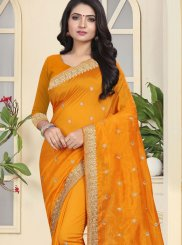 Mustard Embroidered Traditional Designer Saree