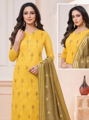 Mustard Embroidered Trendy Churidar Suit