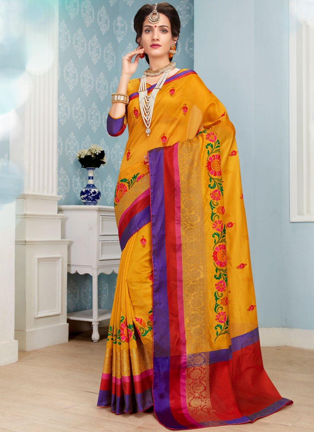 Mustard Embroidered Work Art Silk Cotton Traditional  Saree