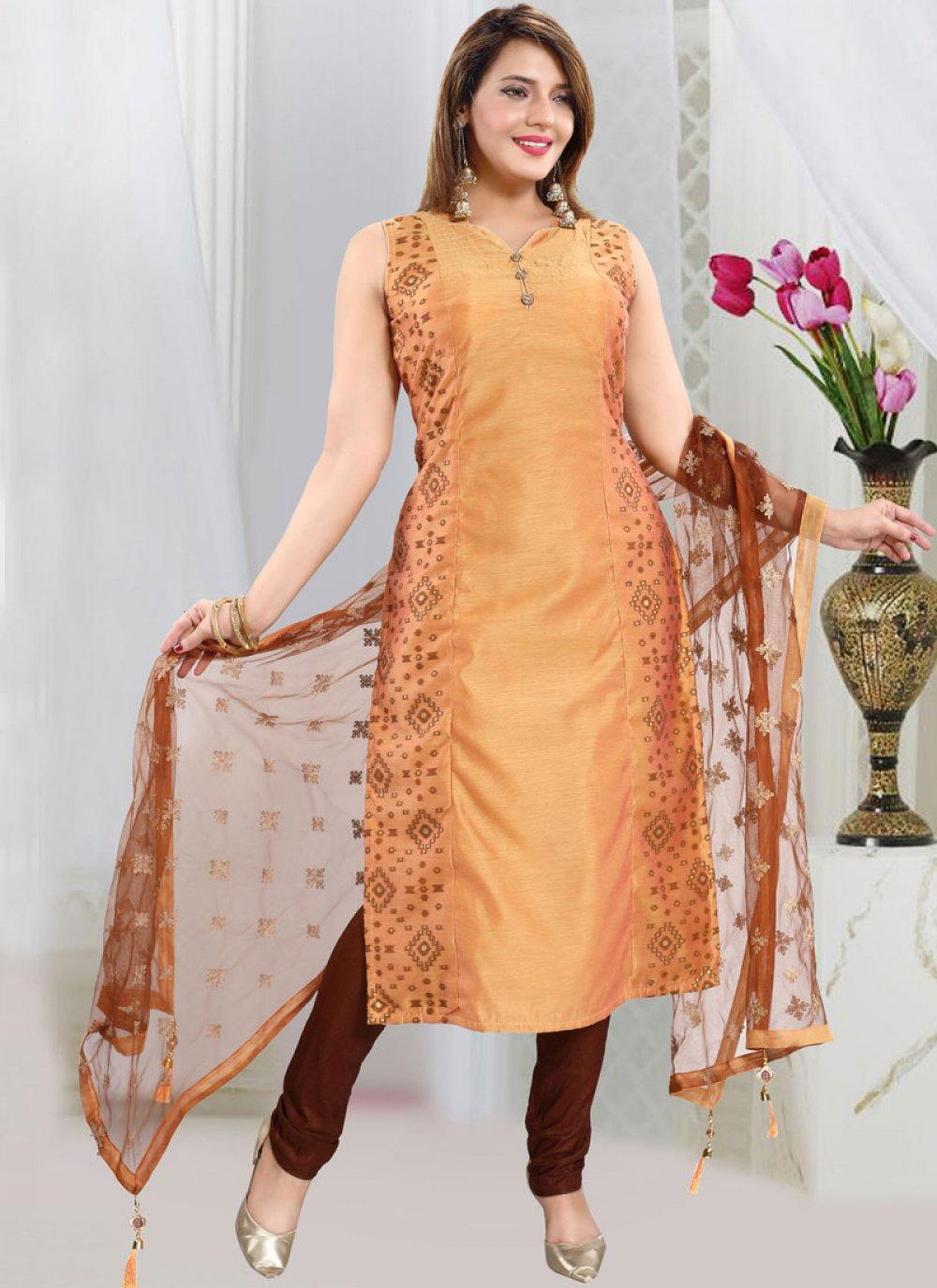Mustard Fancy Chanderi Churidar Designer Suit