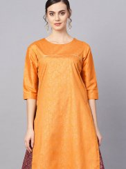 Mustard Fancy Poly Silk Party Wear Kurti